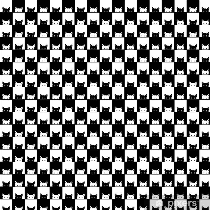 Papier peint vinyle sur mesure Illustration vectorielle de fond d'échecs chat noir blanc - Animaux