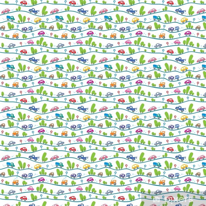 Cars on the road. Funny seamless pattern. Vinyl custom-made wallpaper - Transport