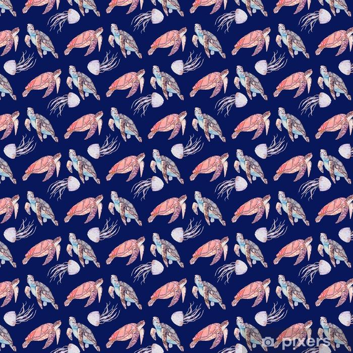 Underwater Sea Pattern Sea Turtles And Jellyfish Ocean Vector