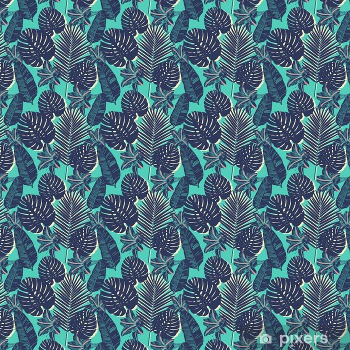 Vinyl behang, op maat gemaakt Tropische naadloze Palmblad blauwe patroon -