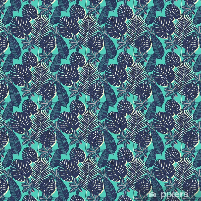 Trooppinen kämmen saumaton lehti sininen malli Räätälöity vinyylitapetti -