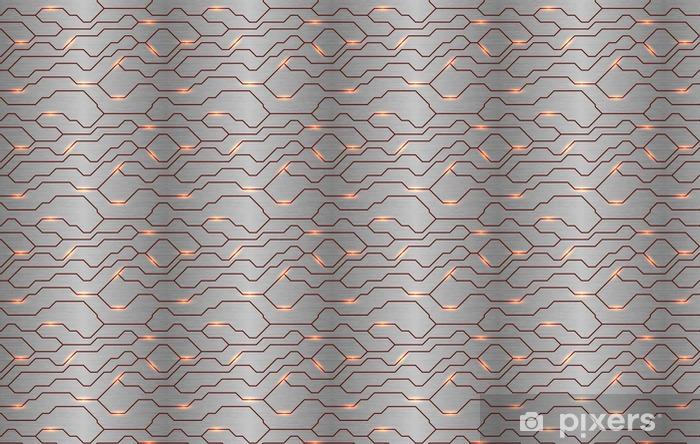 Papel pintado estándar a medida Sin fisuras vector futurista techno textura. línea de energía abstracta en el fondo de metal pulido. vena modelo potencia de luz de tecnología. - Recursos gráficos