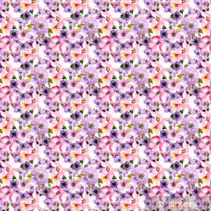 Vinyl behang, op maat gemaakt Vector patroon met bloemen en planten. waterverf bloemenillustratie Naadloos patroon. - Bloemen en Planten
