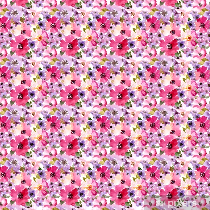 Tapeta na wymiar winylowa Wektor wzór z kwiatami i roślinami. akwarela kwiatowy ilustracja. Wzór bez szwu. - Rośliny i kwiaty