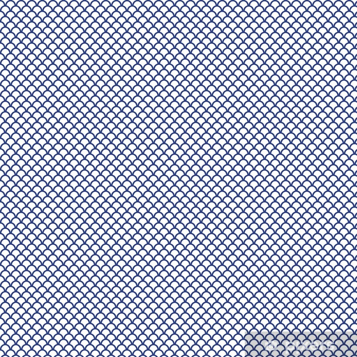 Blue Fish Scale Seamless Pattern