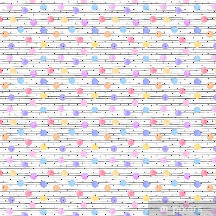 Vinyl behang, op maat gemaakt Waterverftextuur in pastel kleuren. Hand getrokken naadloos abstracte achtergrond voor print op doek of inpakpapier. Watercolor vlekken met zwarte sterren en stippen op een witte achtergrond. - Grafische Bronnen