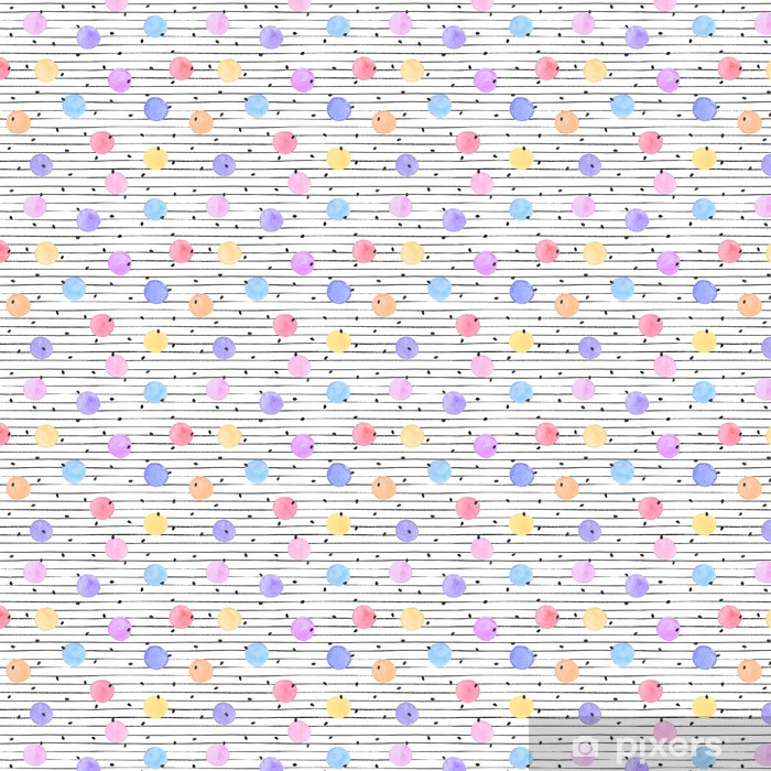 Watercolor texture in pastel colors. Hand drawn seamless abstract background for print on fabric or wrapping paper. Watercolor spots with black stars and dots isolated on white background. Vinyl custom-made wallpaper - Graphic Resources