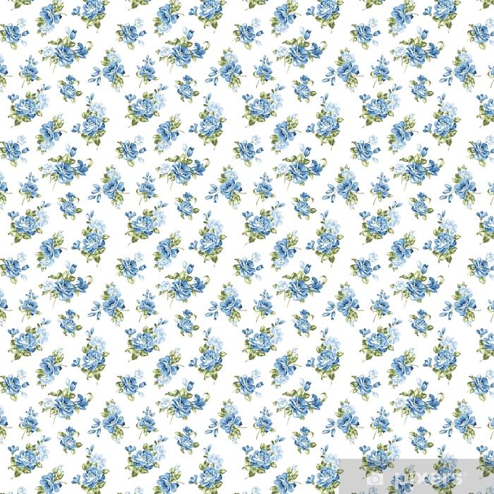 Carta da parati in vinile su misura Modello senza saldatura fiori blu - Piante & Fiori