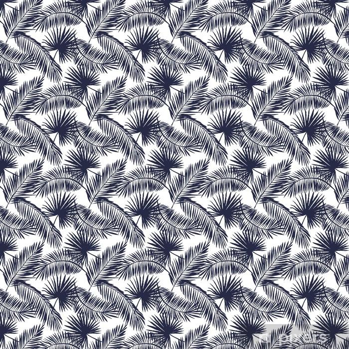 Palmu lehdet siluetti valkoisella pohjalla. vektori saumaton malli trooppisilla kasveilla. Räätälöity vinyylitapetti -