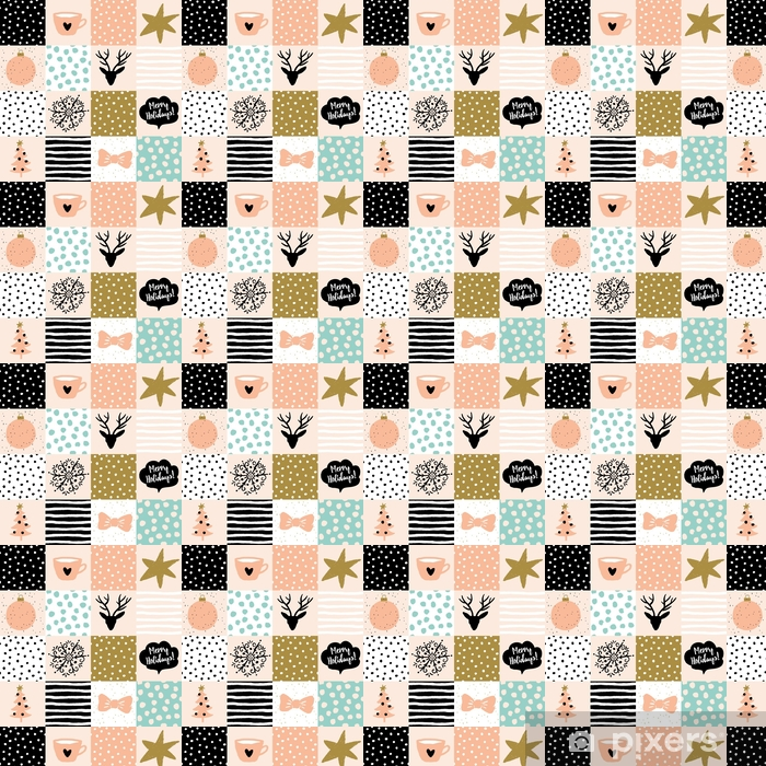 Christmas Patchwork Ilration Vector Seamless Pattern Snow Deer Star Tree And Message Merry Holidays Blush Pink Gold Black White Light