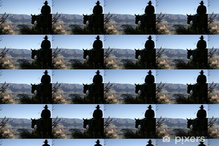 Papier peint vinyle sur mesure Silhouette d'un coureur mule dans le Grand Canyon - Montagne
