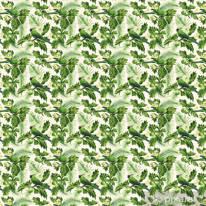 Zelfklevend behang, op maat gemaakt Naadloze tropische patroon met bladeren, bloemen en papegaaien. - Dieren