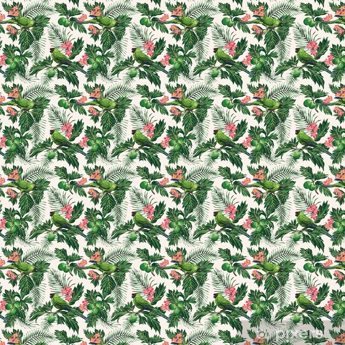 Seamless tropical pattern with leaves, flowers and parrots. Self-adhesive custom-made wallpaper - Animals