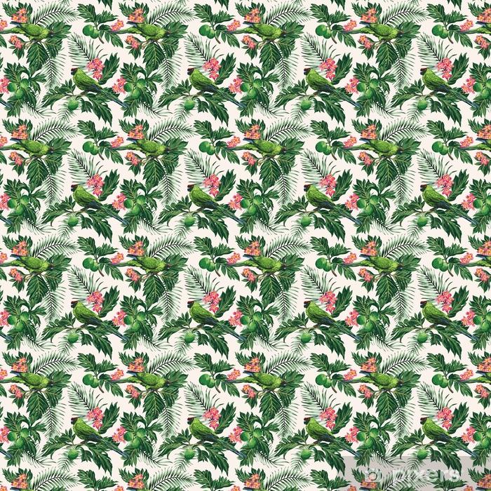 Vinyltapete nach Maß Nahtloses tropisches Muster mit Blättern, Blumen und Papageien. - Tiere