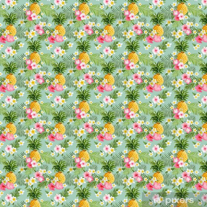 Papel De Parede Flores Tropicais E Fundo De Abacaxi Padrão Sem Costura Vintage à Sua Medida