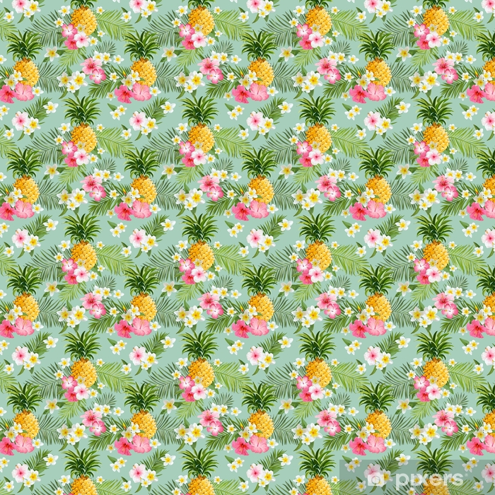 Tropical Flowers And Pineapples Background Vintage Seamless