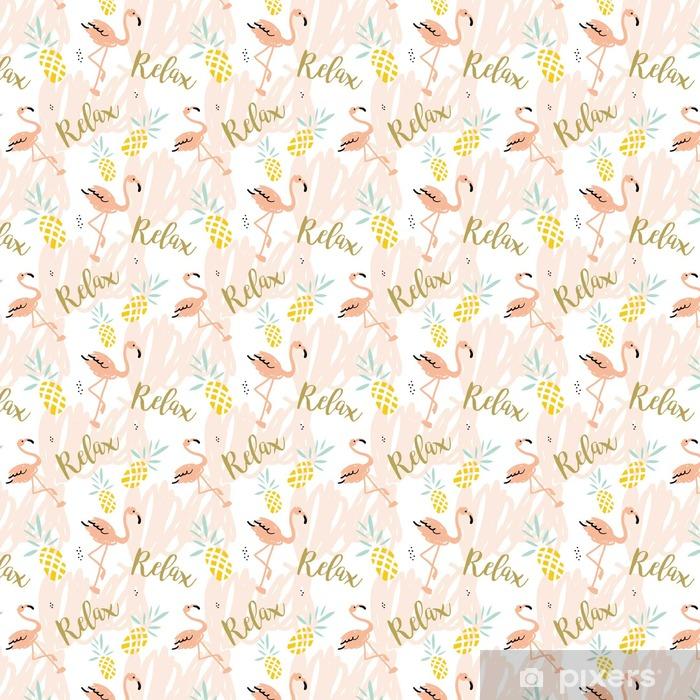 Papel pintado estándar a medida Blush flamenco rosado, piñas y el mensaje Relax en el fondo blanco con trazos pastel. Modelo inconsútil del vector con el pájaro tropical y fruta. - Animales