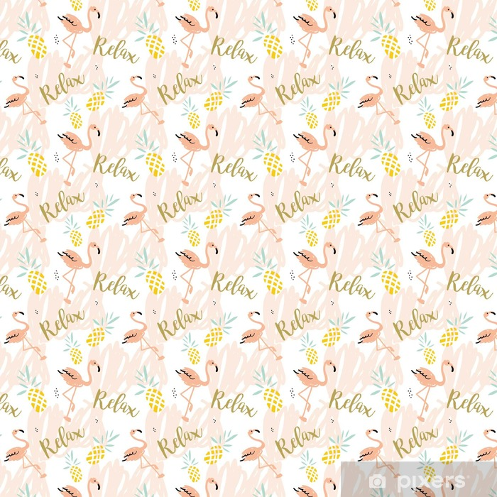 Blush pink flamingo, pineapples and message Relax on the white background with pastel strokes. Vector seamless pattern with tropical bird and fruit. Vinyl custom-made wallpaper - Animals