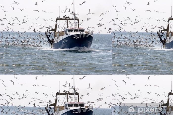Vinyl Behang Fischerboot und Möwen - Europa