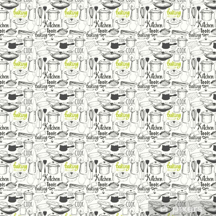 Seamless background with kitchen appliances and tools. Menu pattern. Vinyl custom-made wallpaper - Food