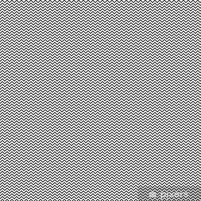 Vinyltapete nach Maß Chevron Zickzack schwarz-weiß nahtlose Muster. Geometrischer einfarbiger gestreifter Hintergrund des Vektors. Zick-Zack-Wellenmuster. Chevron monochrome klassische Verzierung. - Grafische Elemente