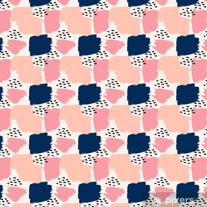 Zelfklevend behang, op maat gemaakt Hand getekende abstracte Naadloze Patroon - Grafische Bronnen