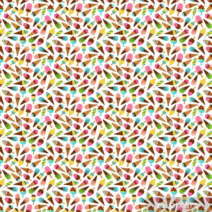 Papel pintado estándar a medida Postres de helado de patrones sin fisuras de vainilla y caramelo, menta, pistacho y bolas de helado con sabor a fruta y conos de waffle, paletas de arco iris sobre palos y helado de helado con chocolate - Comida