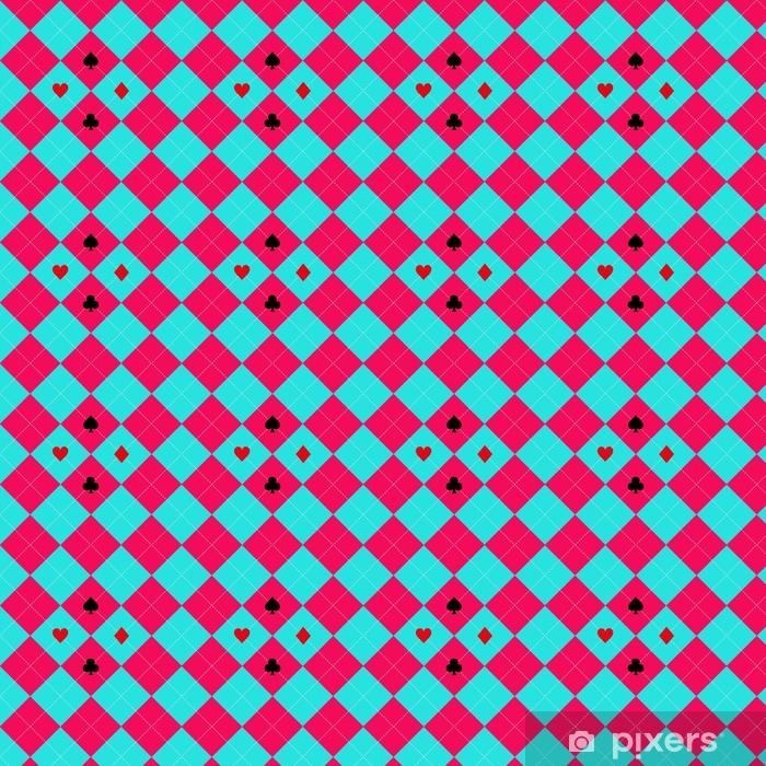 Vinyl behang, op maat gemaakt Kaart past bij blauwe hemel roze diamant achtergrond vectorillustratie - Grafische Bronnen