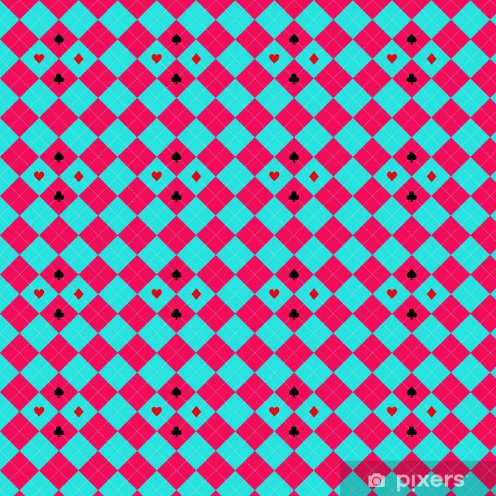 Card Suits Blue Sky Pink Diamond Background Vector Illustration Vinyl custom-made wallpaper - Graphic Resources