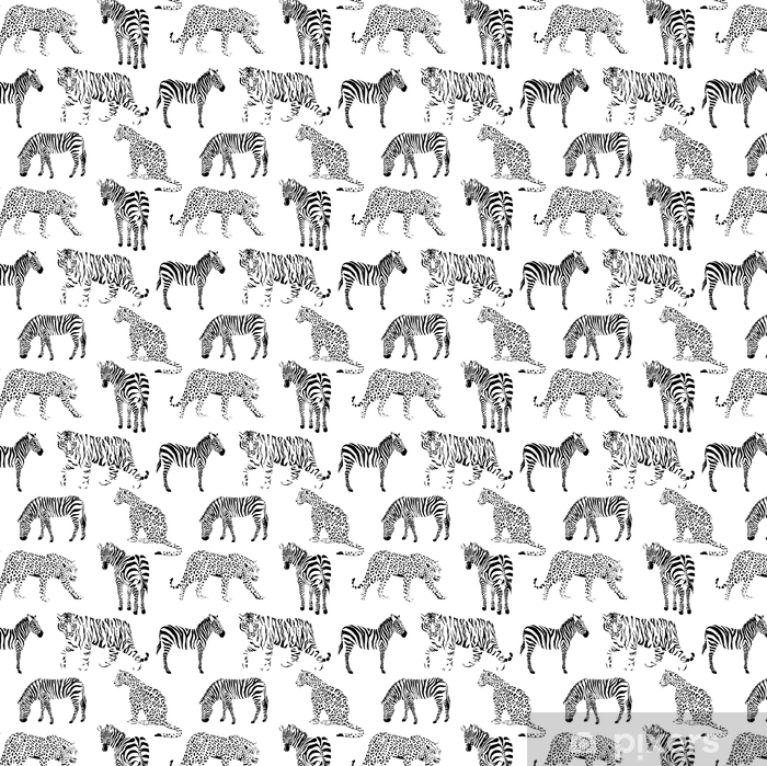 wild animals black and white seamless background Vinyl custom-made wallpaper - Animals