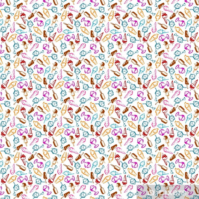 Papel pintado estándar a medida Postres de patrones sin fisuras con conos, helado de chocolate en palos y helado de helado con frutas y jarabe. menú de postres o temas de aperitivos - Comida