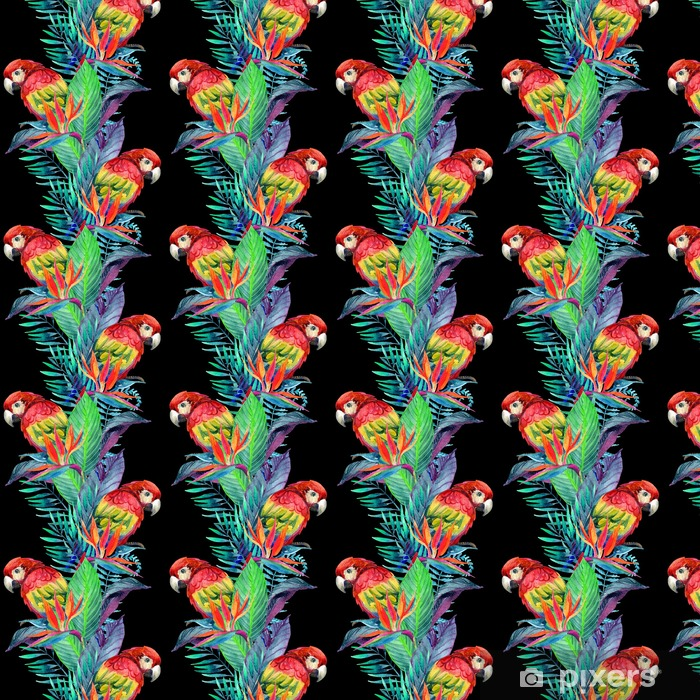 Papel pintado estándar a medida Loros de la acuarela con las flores tropicales sin patrón - Animales