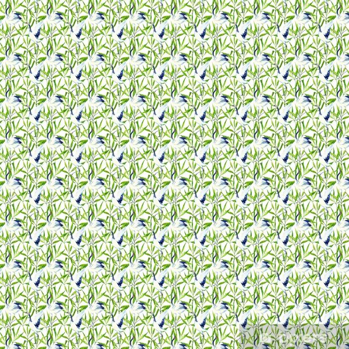 Papel pintado estándar a medida Acuarela patrón transparente asiático pájaro de la grúa - Animales
