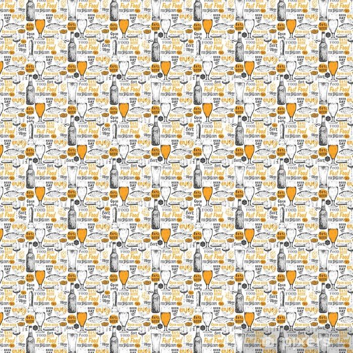 Papel pintado estándar a medida Modelo con la cerveza, sidra y un aperitivo en el estilo de dibujo. - Bebida