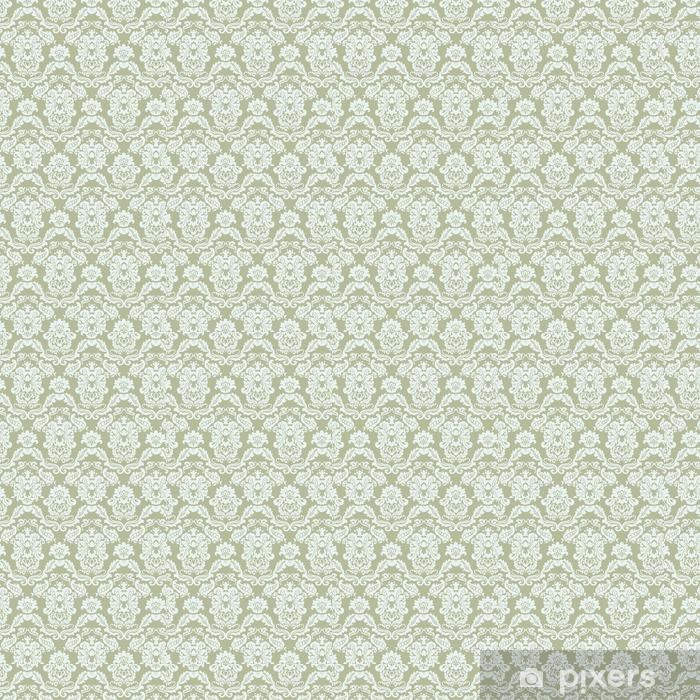 Papel de parede em vinil à sua medida Padrão de ornamento floral com flores de lírios estilizados. Textura de luxo elegante para papéis de parede, fundos e cartões de convite. cor de azeitona verde. vetor - Recursos Gráficos