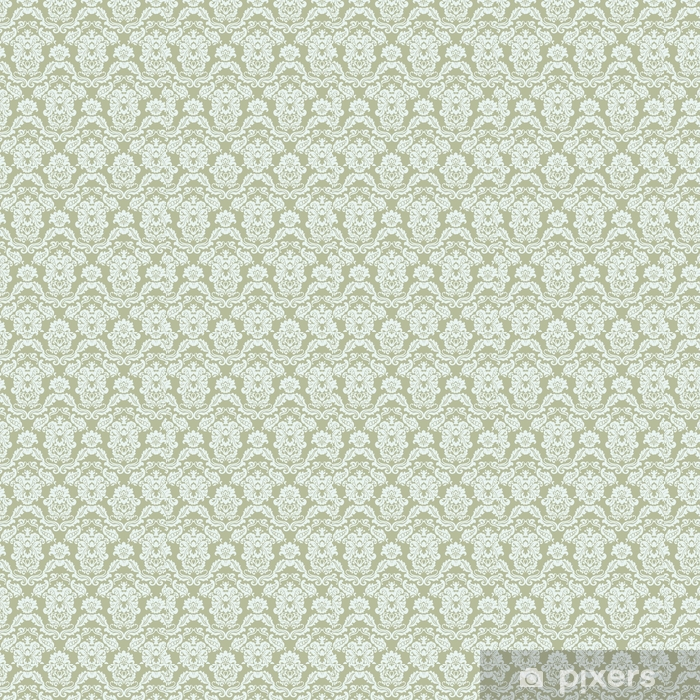 Floral ornament pattern with stylized lilies flowers . Elegant luxury texture for wallpapers, backgrounds and invitation cards. Green olive color. Vector Vinyl custom-made wallpaper - Graphic Resources