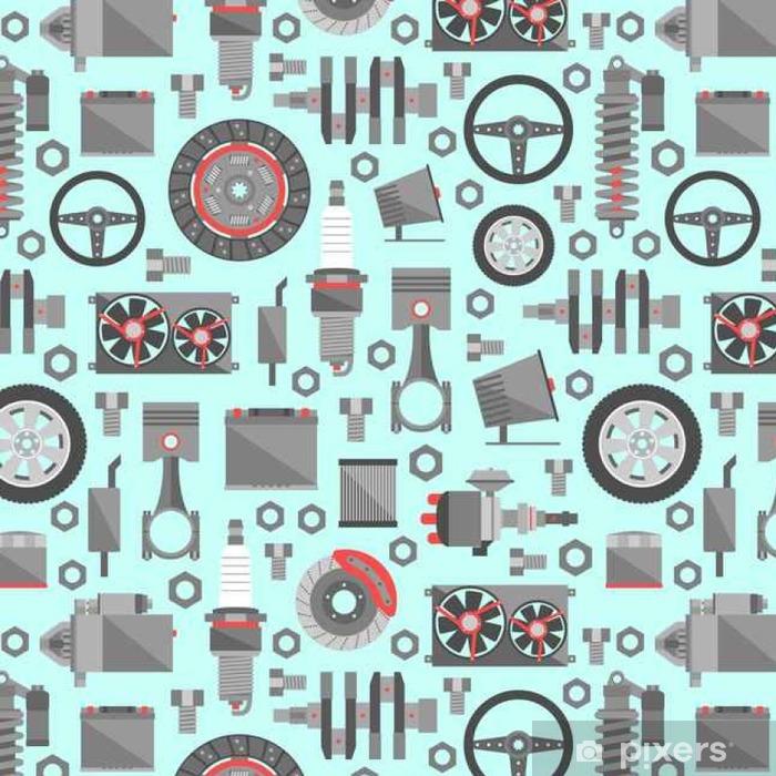 Vinyl Behang Auto-onderdelen naadloos patroon - Transport