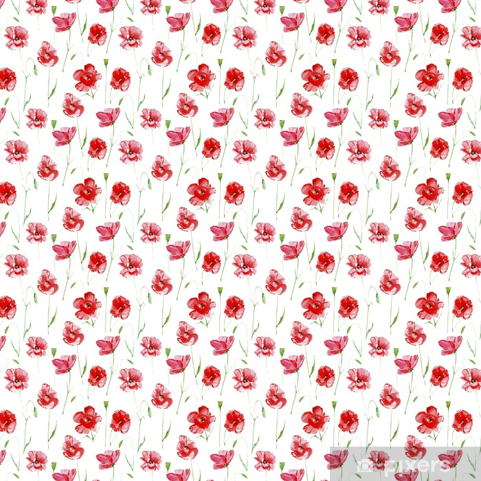 Poppy flowers.Floral seamless pattern.Watercolor hand drawn illustration.White background.Seamless pattern for fabric, paper and other printing and web projects. Vinyl custom-made wallpaper - Plants and Flowers