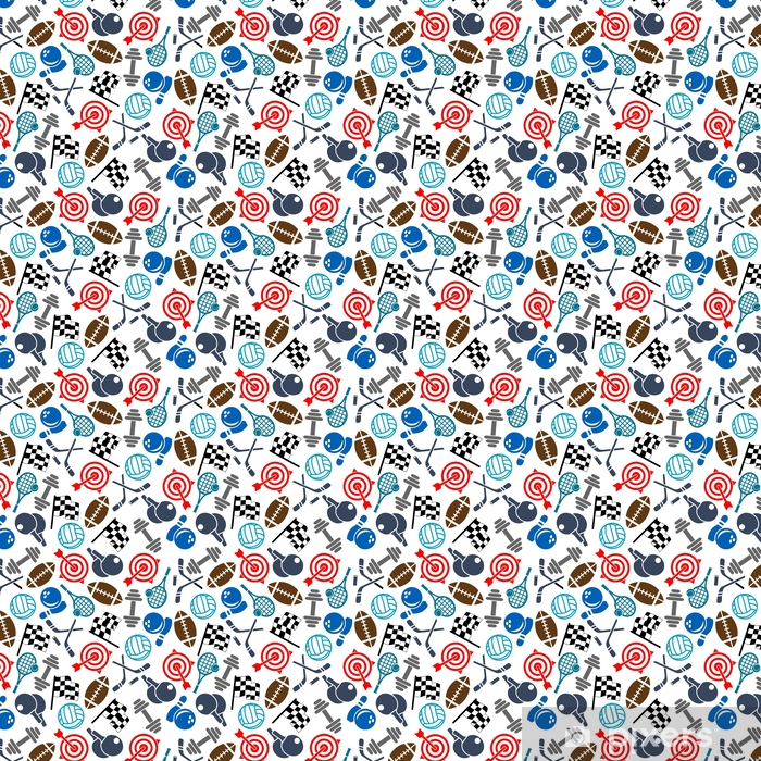 Sport items color seamless pattern Self-adhesive custom-made wallpaper - Sports