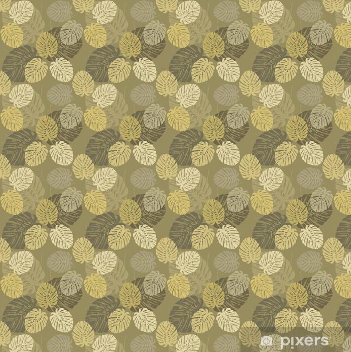 Carta da parati in vinile su misura Seamless pattern con foglie tropicali di Monstera - Relax