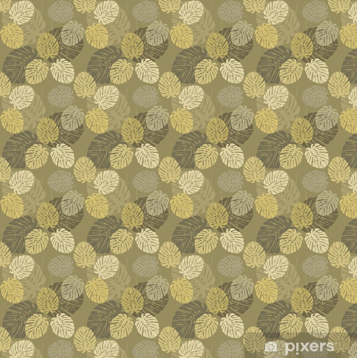 Seamless Pattern with tropical leaves of Monstera Vinyl custom-made wallpaper - Relaxation