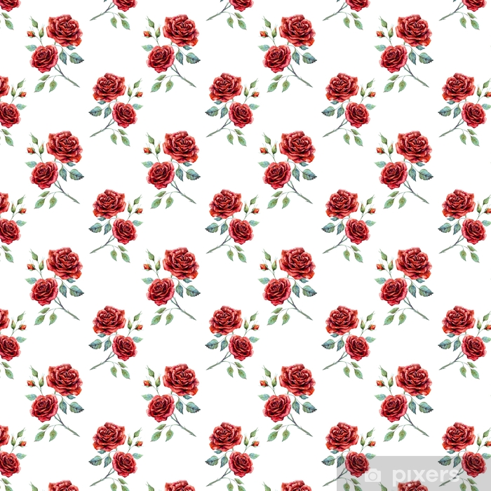 Watercolor Rose Pattern Wallpaper Vinyl Custom Made