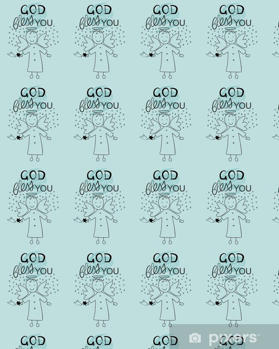 Papier peint vinyle sur mesure Bible lettrage Dieu vous bénisse et petit ange - Culture et religion