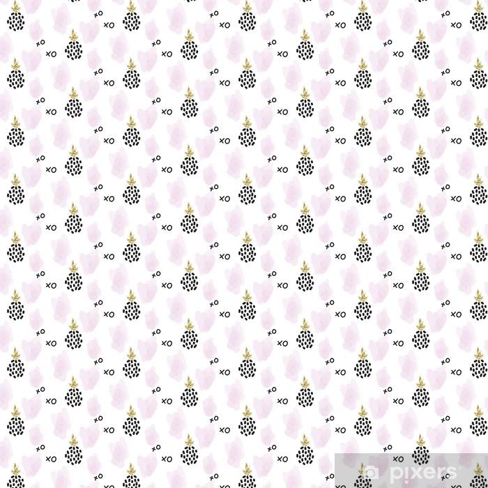 Vinyl behang, op maat gemaakt Glitter Scandinavische xoxo ananas ornament. Vector gouden naadloos patroon collectie. Modern shimmer details en roze penseelstreken stylish textuur. - Grafische Bronnen