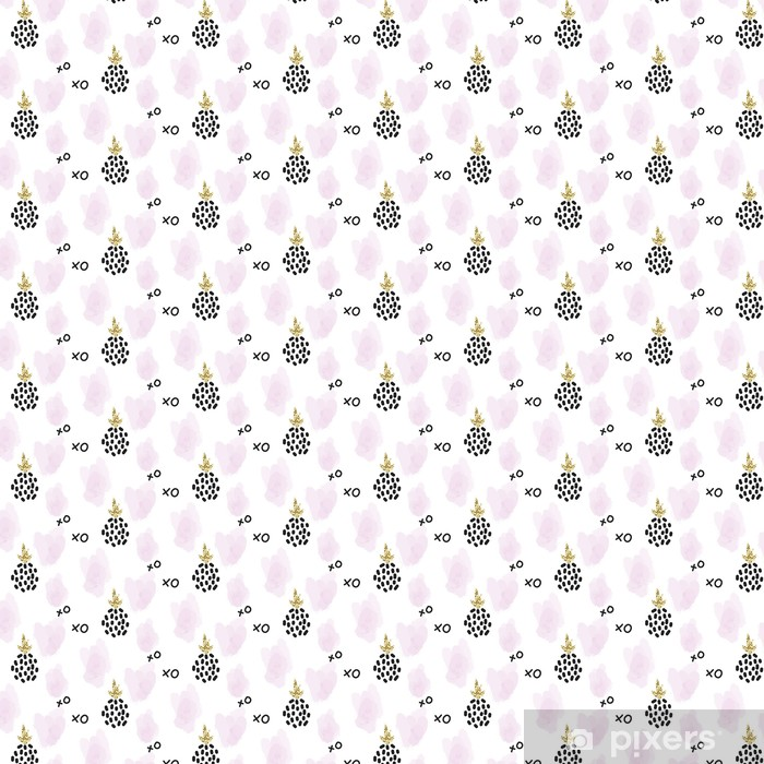 Papier peint vinyle sur mesure Glitter xoxo scandinavian ananas ornement. Vector gold collection seamless pattern. les détails de miroitement modernes et traçages rose texture élégante. - Ressources graphiques