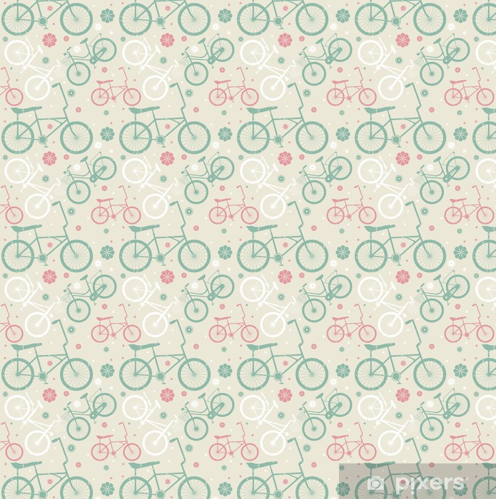 Vinyl behang, op maat gemaakt Naadloos patroon met retro fietsen en bloemen - Sport