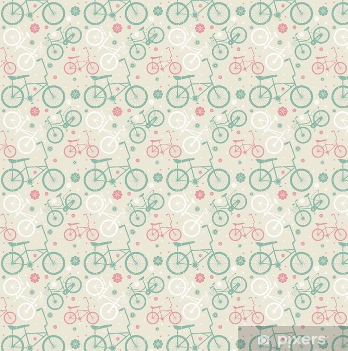 Papel pintado estándar a medida Patrón sin fisuras con las bicicletas retro y flores - Deportes