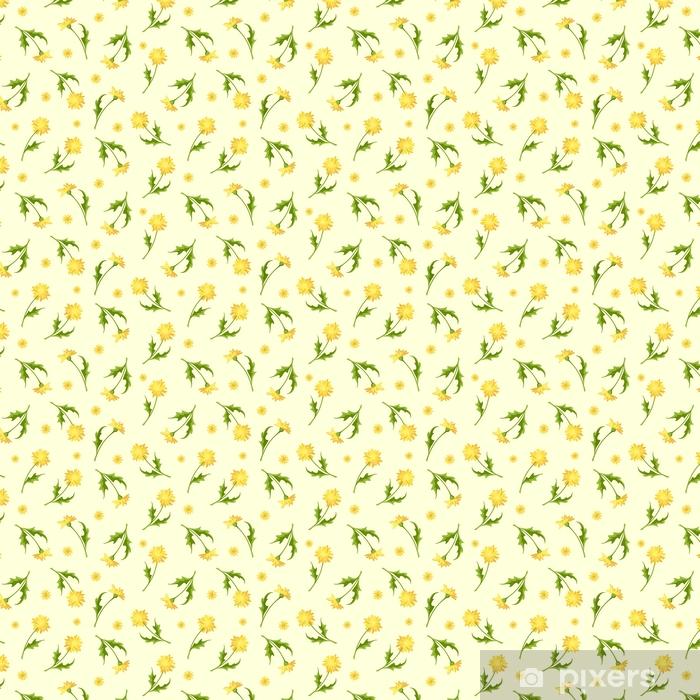 Papel de parede em vinil à sua medida Padrão vetorial sem costura com flores amarelas de dente-de-leão. - Plantas e Flores