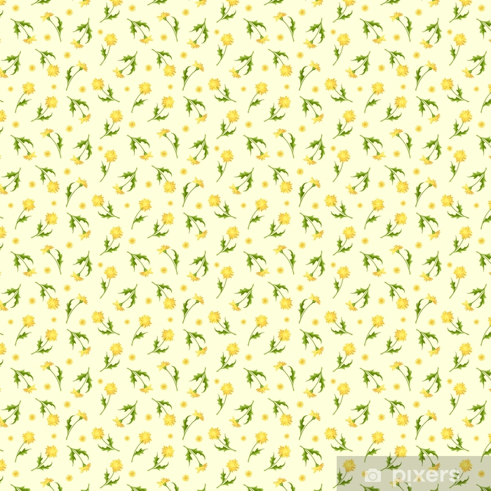 Vector seamless pattern with yellow dandelion flowers. Vinyl Custom-made Wallpaper - Plants and Flowers