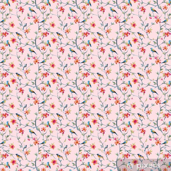 Papel pintado estándar a medida Patrón floral acuarela - Plantas y flores